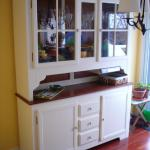 Cream lacquer finished buffet and hutch.